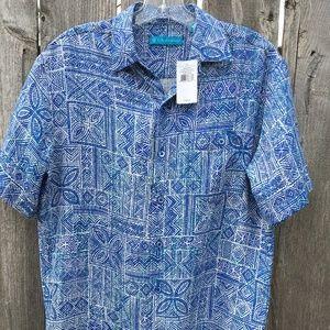 Tori Richard Sz XS Indo Tapa Hawaiian Block Print